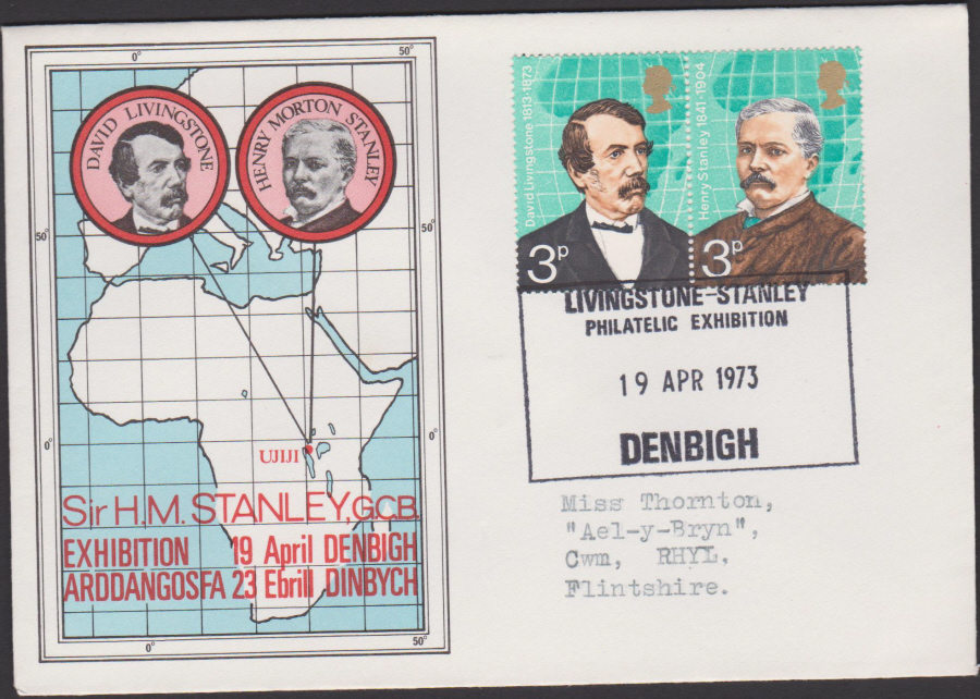 1973 British Explorers Exhibition Cover Denbigh