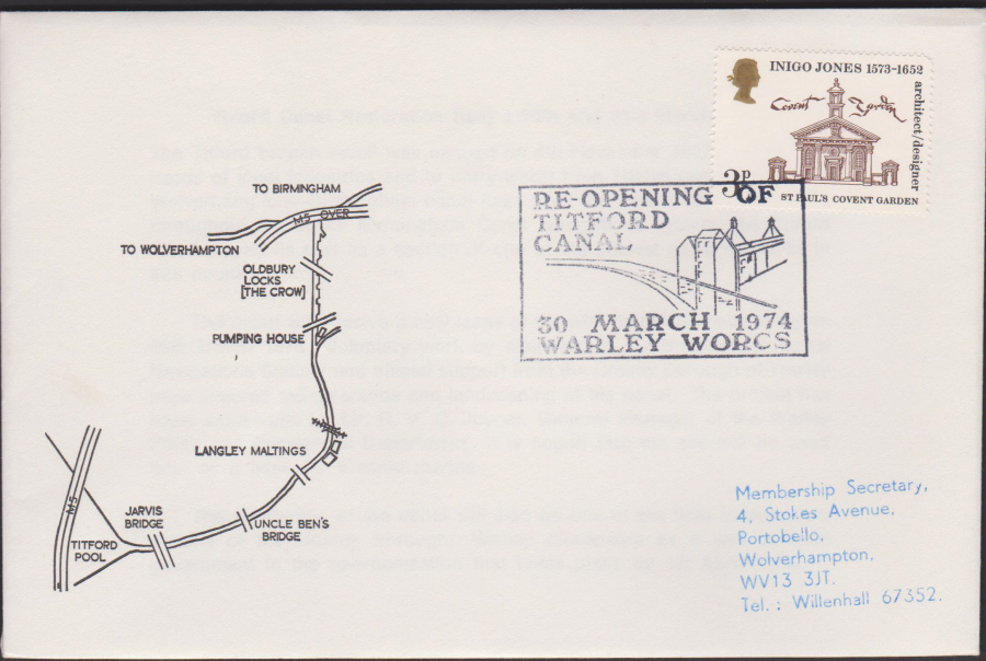 1974 Re-Opening of Titford Canal Cover Warley postmark
