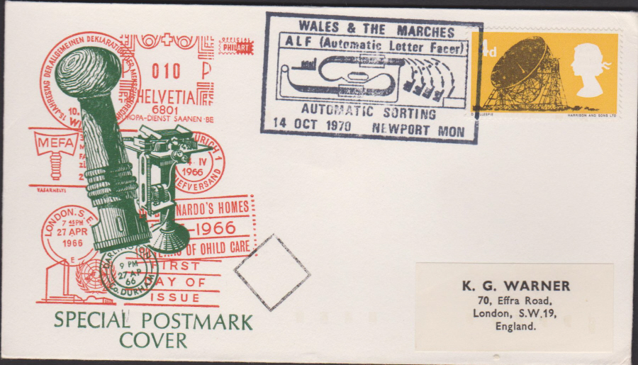 1970 Wales & Marches Automatic Letter Facer Newport Cover