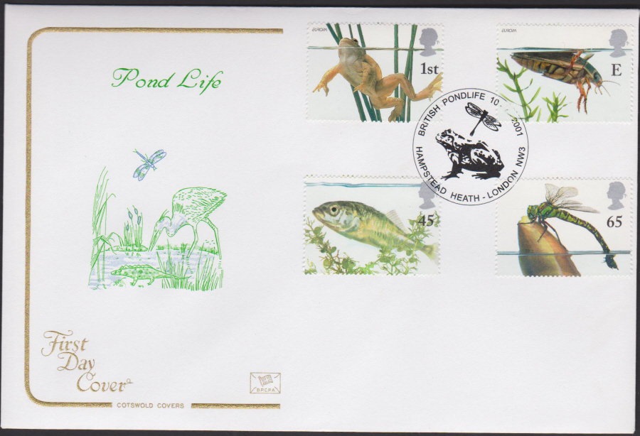 2001 Pond Life FDC COTSWOLD -Hampstead Heath London NW3 Postmark - Click Image to Close