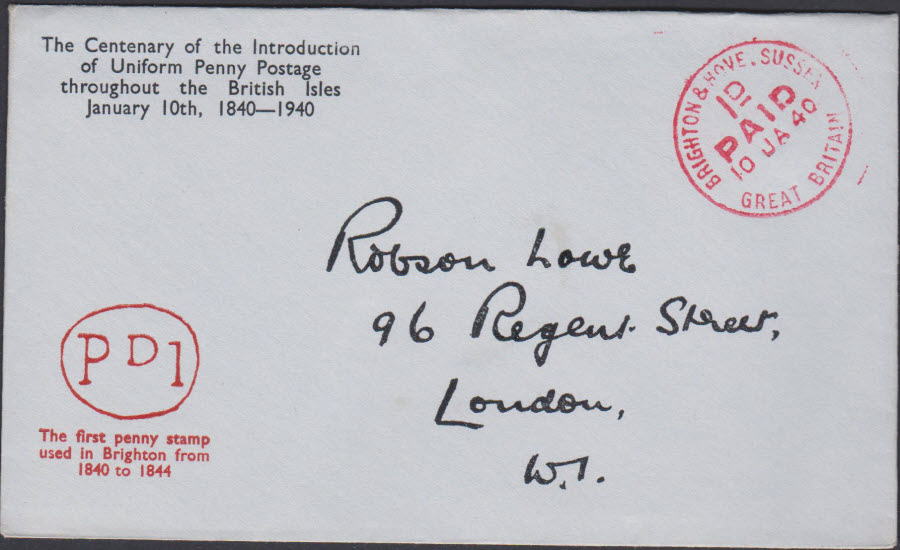 1940 - Robson Lowe Uniform Penny Post Cover Brighton & Hove
