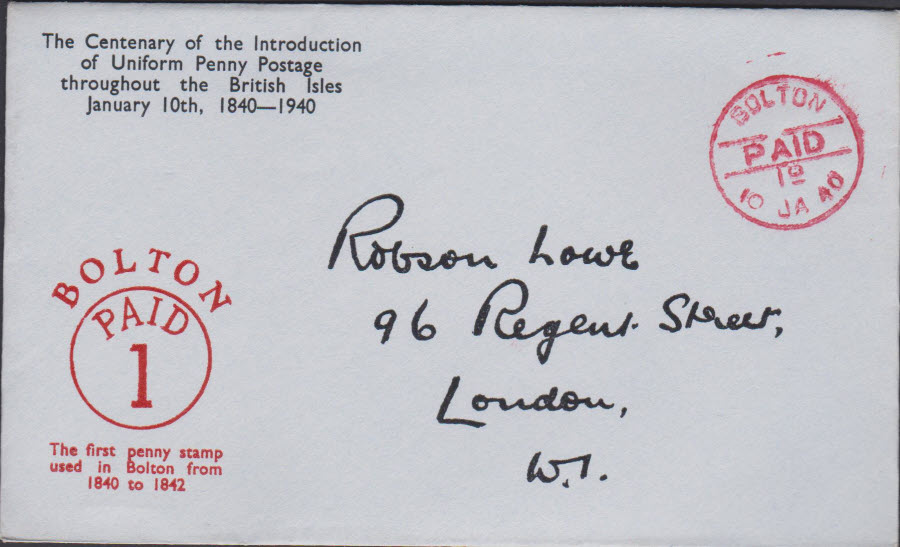 1940 - Robson Lowe Uniform Penny Post Cover Bolton