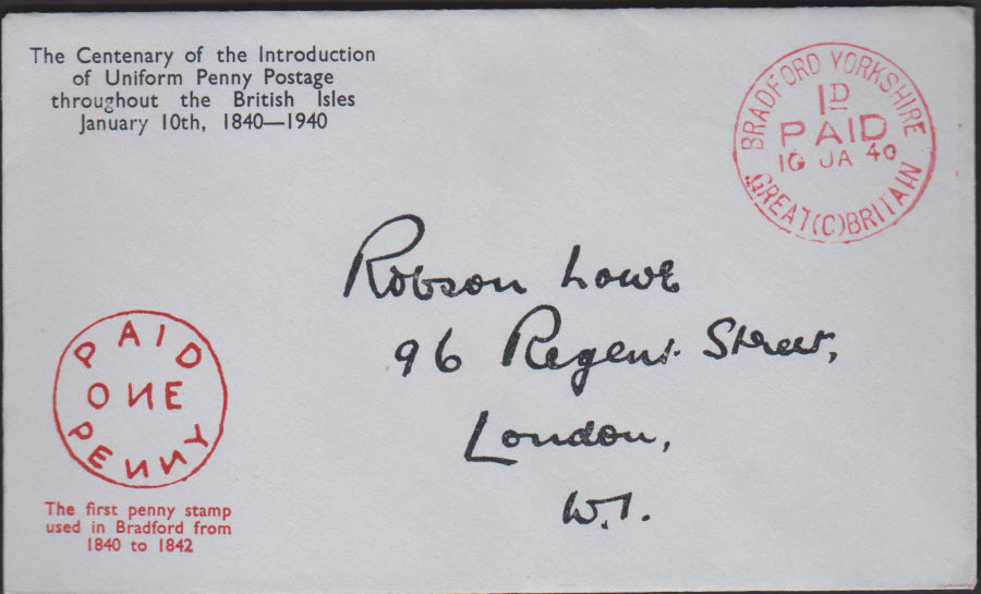 1940 - Robson Lowe Uniform Penny Post Cover Bradford Yorkshire