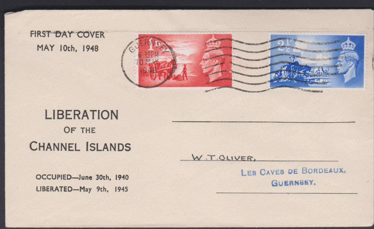 1948- Liberation of Channel Islands First Day Cover Illustrated Guernsey Slogan