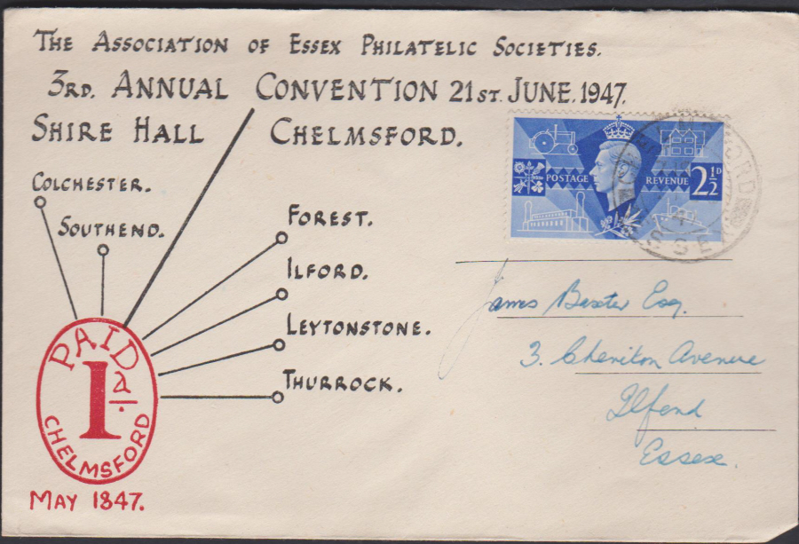 1947 Association of Essex Philatelic Societies Convention Cover Chelmsford