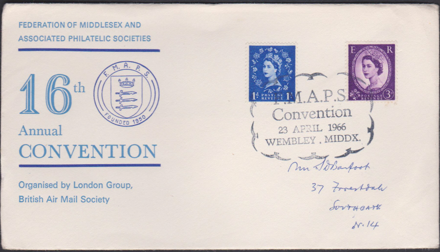 1966 Middlesex Philatelic Soc 16th Convention Wembley Cover