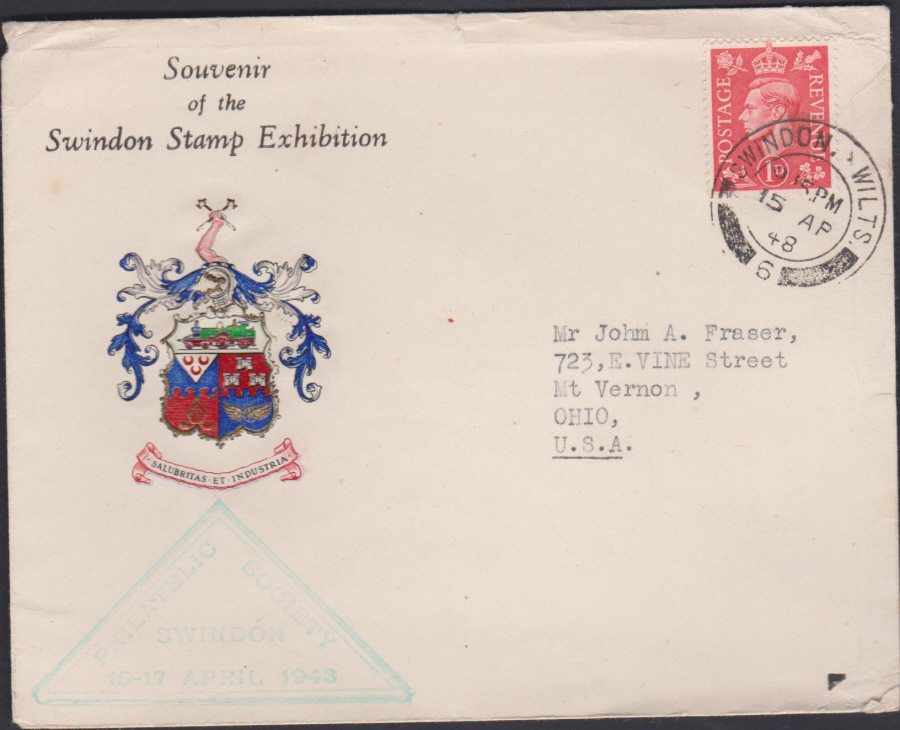 1948 Swindon Stamp Exhibition Swindon Cover