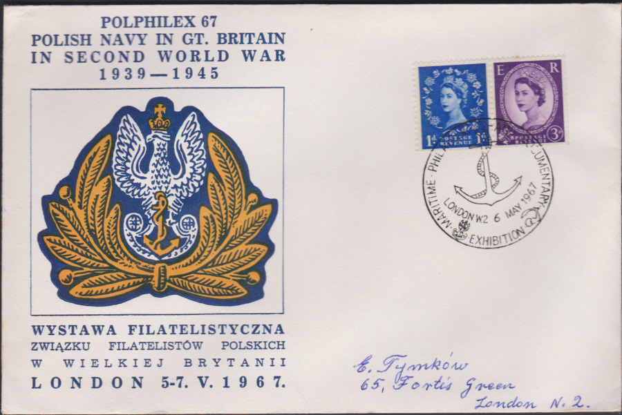 1967 Polphilex 67 Polish Navy in Second World War Cover London W2 postmark