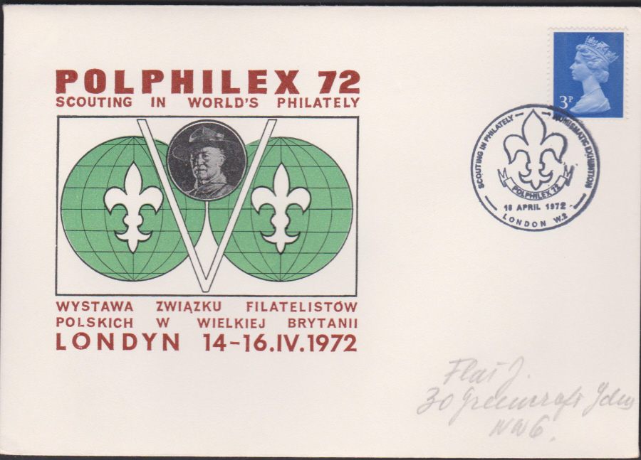 1972 Polphilex 72 Scouting in World's Philately Cover London W2 postmark