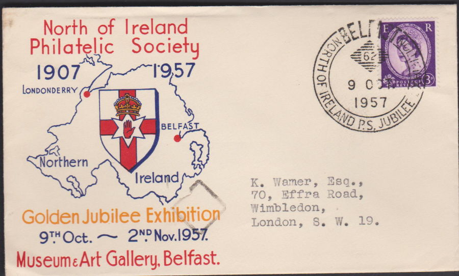 1957 North of Ireland Philatelic Exhibition Belfast Cover