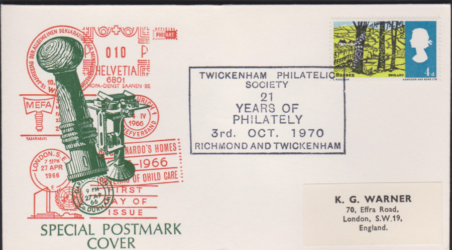 1970 Twickenham Philatelic Exhibition Twickenham & Richmond Cover