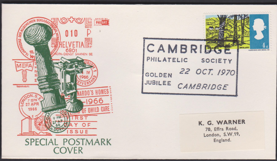 1970 Cambridge Philatelic Exhibition Cambridge Cover