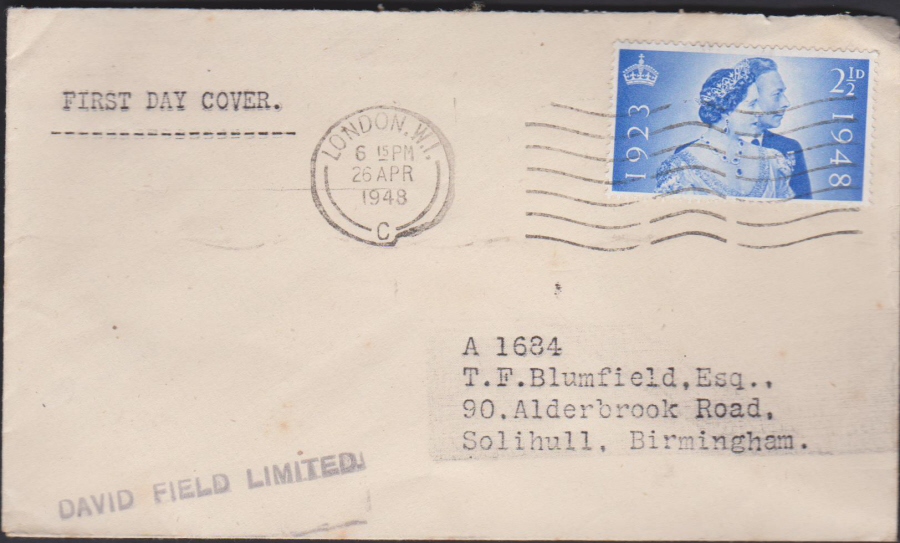 1948- Silver Wedding plain First Day Cover London W 1 Slogan