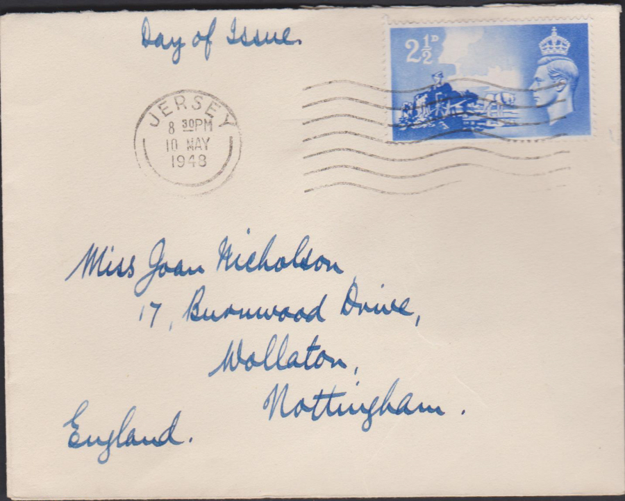1948- Channel Island Liberation plain First Day Cover Jersey Slogan