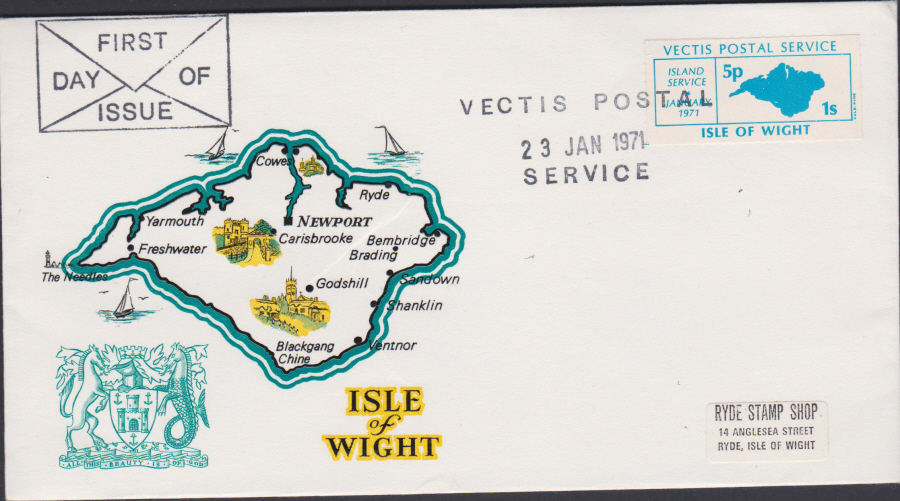1971 Private Post Vectis Postal Service First Day of Issue Blue - Click Image to Close