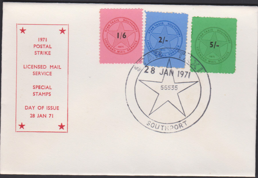1971 Southport Strike Cover Star Taxi Soutport Stamps First Day of Issue