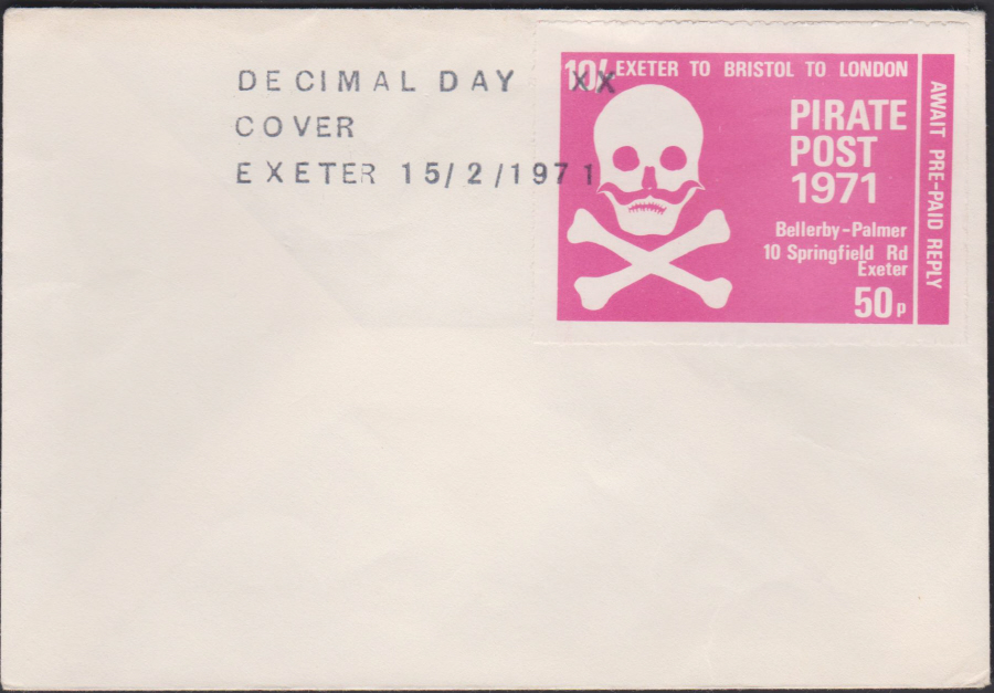 1971 Private Post Exeter Pirate Post 1971 Decimal Day Cover