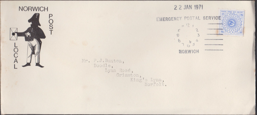 1971 Private Post Norwich Post Emergency Postal Service