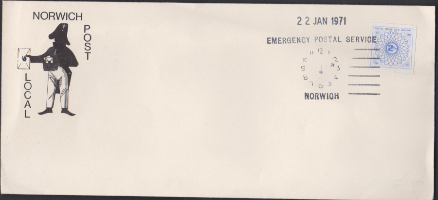 1971 Private Post Norwich Post Emergency Postal Service different time