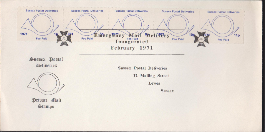 1971 Private Post Sussex Post Emergency Mail Delivery