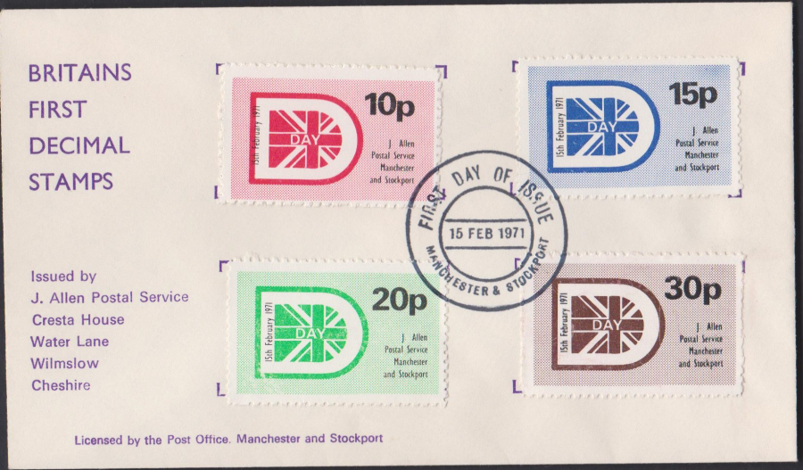 1971 Private Post J Allen Manchester & Stockport Postal Service