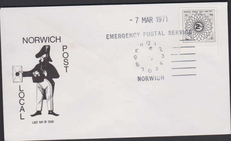 1971 Private Post Norwich Post Emergency Postal Service last day of issue