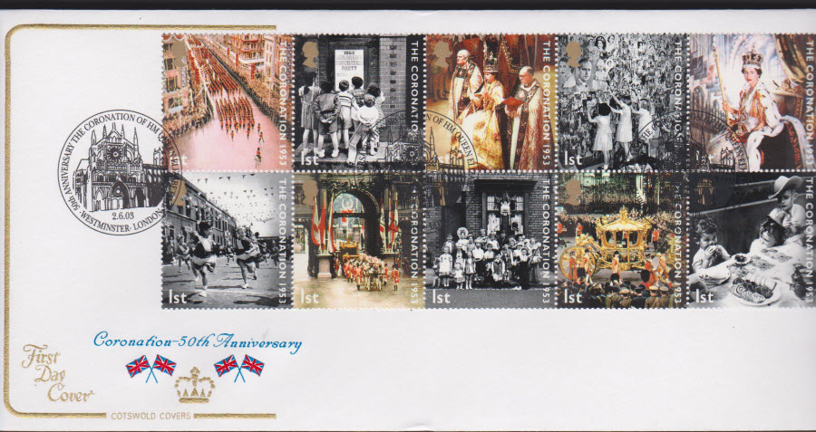 2003 - Coronation COTSWOLD FDC Westminster London Postmark