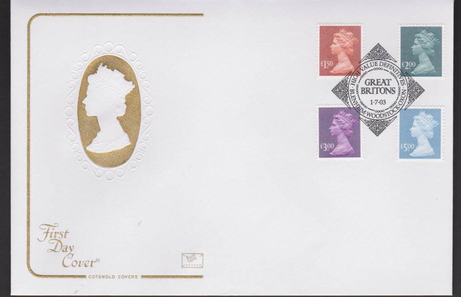 2003 - High Value Definitions COTSWOLD FDC Blenheim Woodstock Postmark