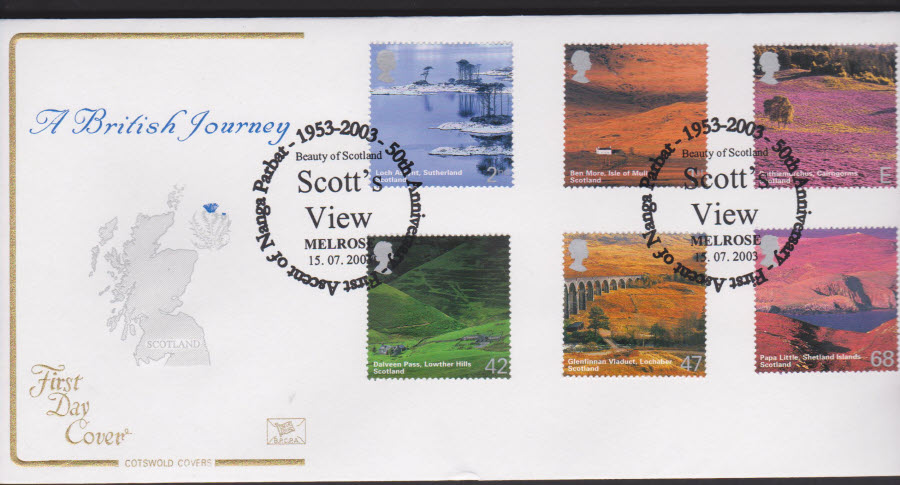 2003 -Scotland COTSWOLD FDC Melrose Postmark