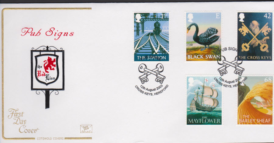 2003 - Pub Signs COTSWOLD FDC Cross Keys Hereford Postmark