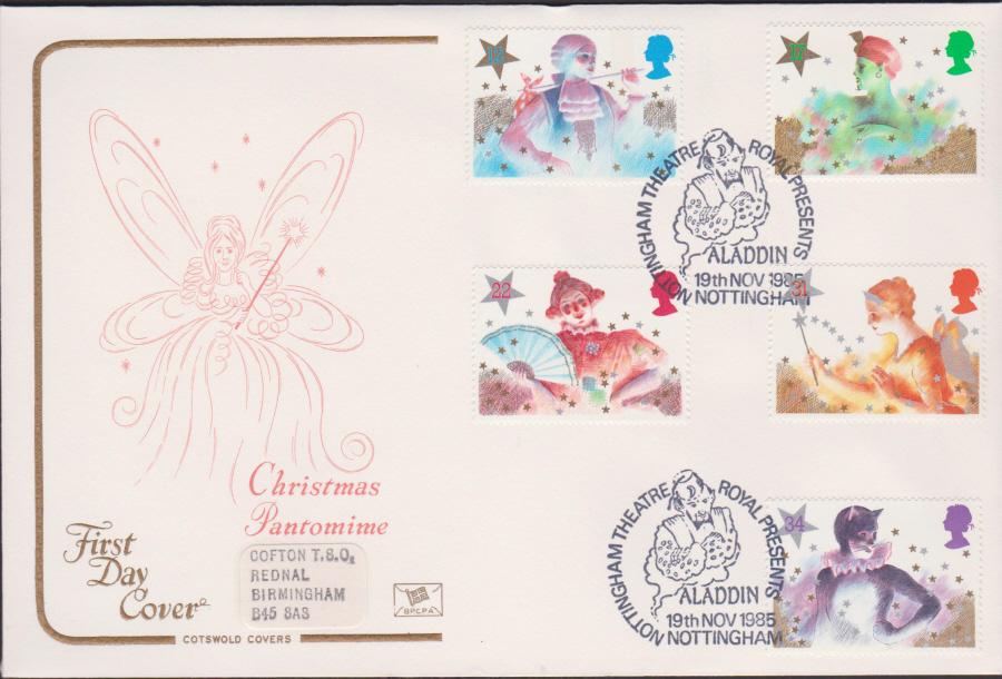 1985 - Cotswold Christmas First Day Cover - Aladdin Nottingham Postmark