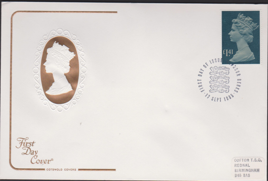 1985 -COTSWOLD £1.41 Defin First Day Cover :- F D I Windsor Postmark