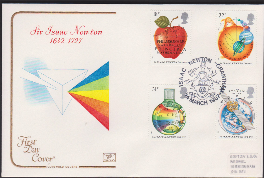 1987- COTSWOLD Sir Isaac Newton First Day Cover :-Grantham Lincs Postmark