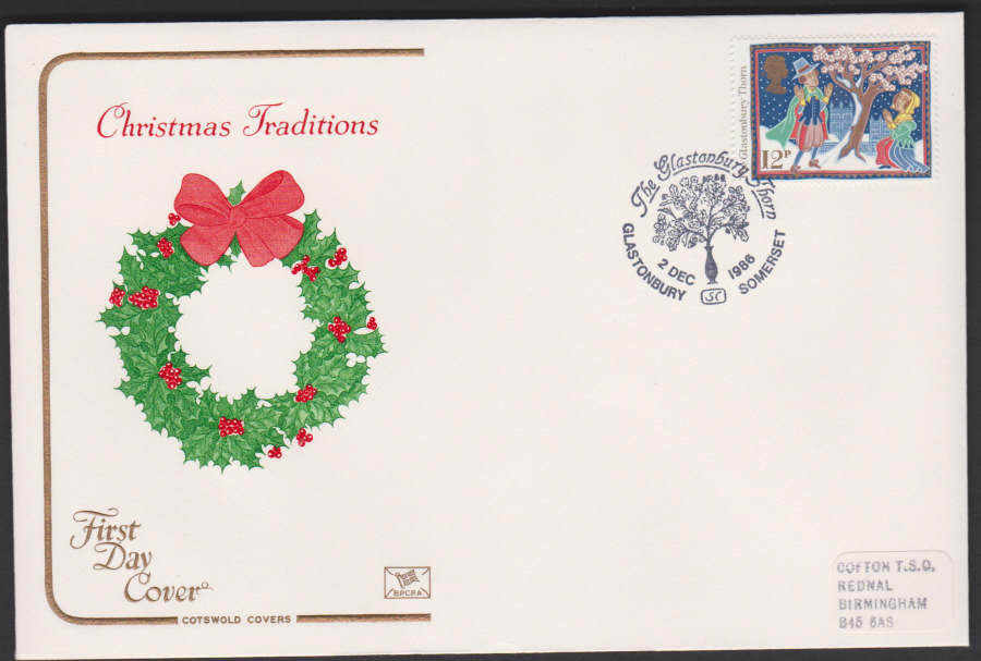 1986 - COTSWOLD Christmas 12p First Day Cover :-Glastonbury Thorn Postmark