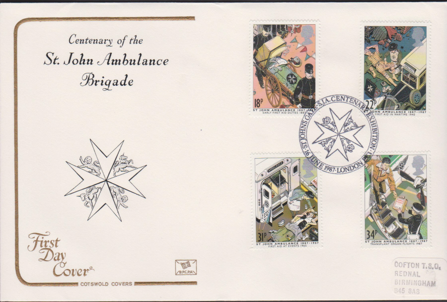 1987- COTSWOLD St John Ambulance Brigade First Day Cover :- Exhibition ,London EC1 Postmark