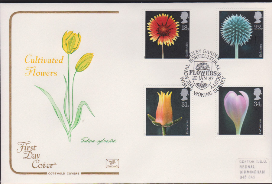 1987-COTSWOLD Flowers First Day Cover :Wisley,Woking Surrey Postmark