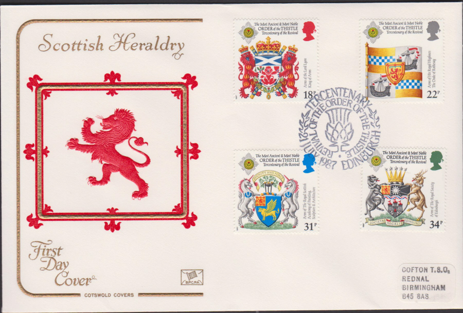 1987- COTSWOLD Scottish Heraldry First Day Cover :- Order of the Thistle,Edinburgh Postmark