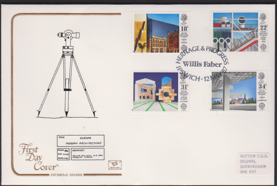 1987- COTSWOLD British Architecture in Europe First Day Cover :- Willis Faber Ipswich Postmark