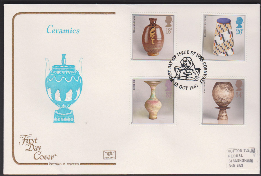 1987- COTSWOLD Studio Pottery First Day Cover F D I St Ives,Cornwall Postmark