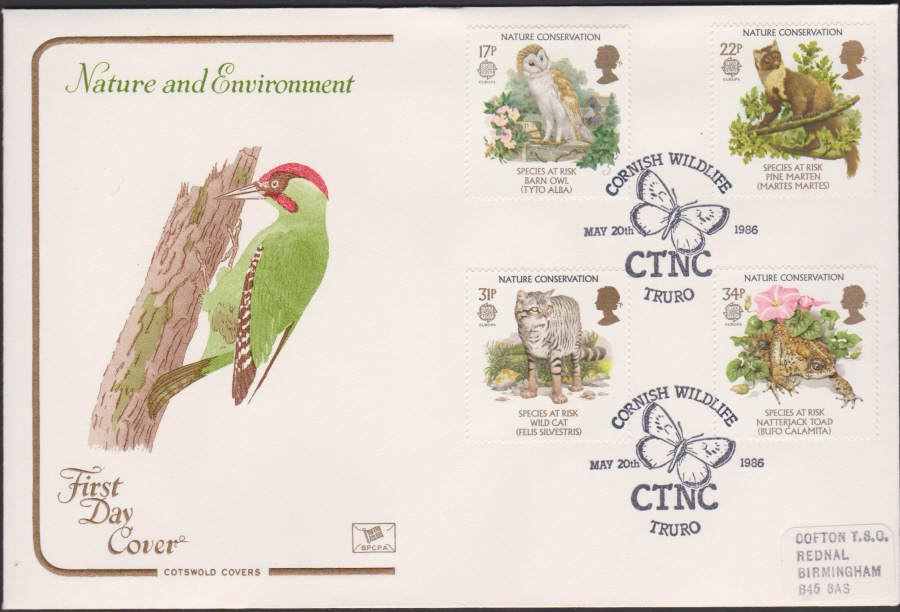 1986 - COTSWOLD Nature First Day Cover :-Cornish Wildlife Truro Postmark