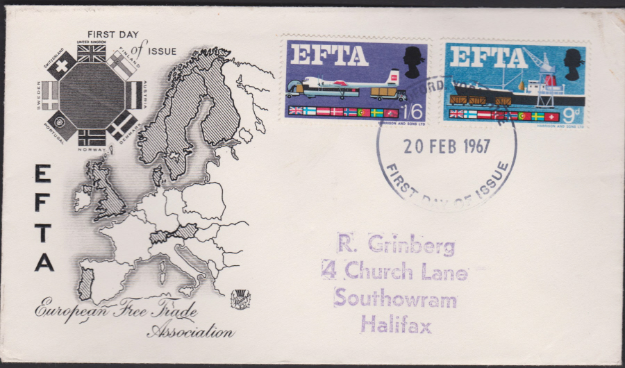 1967 - EFTA First Day Cover - First Day of Issue Bradford Postmark