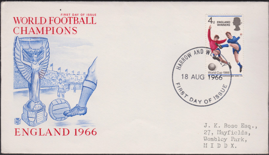 1966 World Cup Winners Harrow & Wembley Postmark Illustrated. Cover