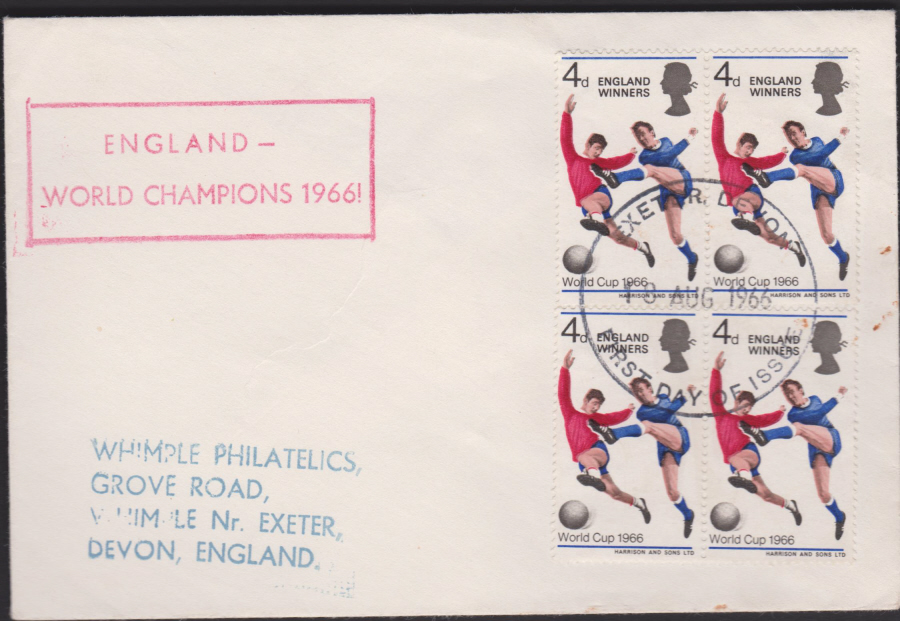 1966 World Cup Winners Exeter Devon Postmark Illustrated. Cover