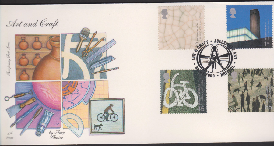 2000-4d Post FDC- Art & Craft - Accessable Art, Bristol , Postmark