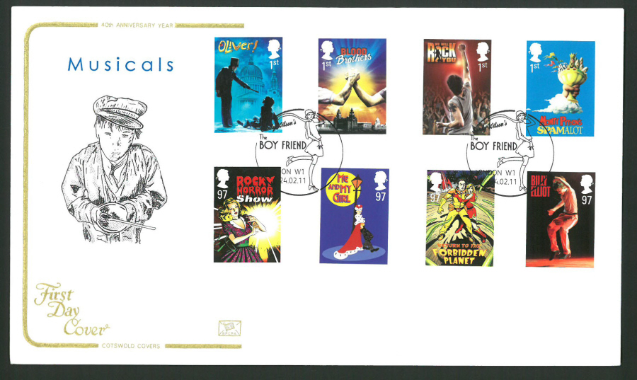 2011 Musicals Cotswold First Day Cover - Boyfriend London W1 Postmark