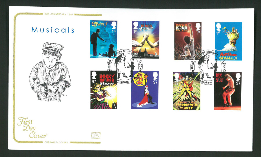 2011 Musicals Cotswold First Day Cover - Oliver Rd Birmingham Postmark