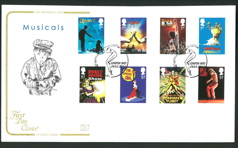 "2011 Musicals Cotswold First Day Cover -""Dancer"" London WC1 Postmark"
