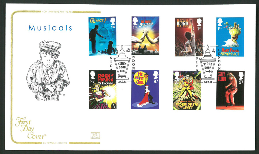 2011 Musicals Cotswold First Day Cover -Stage Door London Postmark