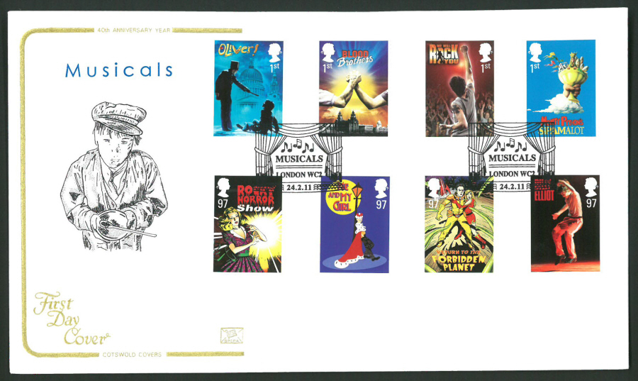 2011 Musicals Cotswold First Day Cover -Musicals London WC Postmark