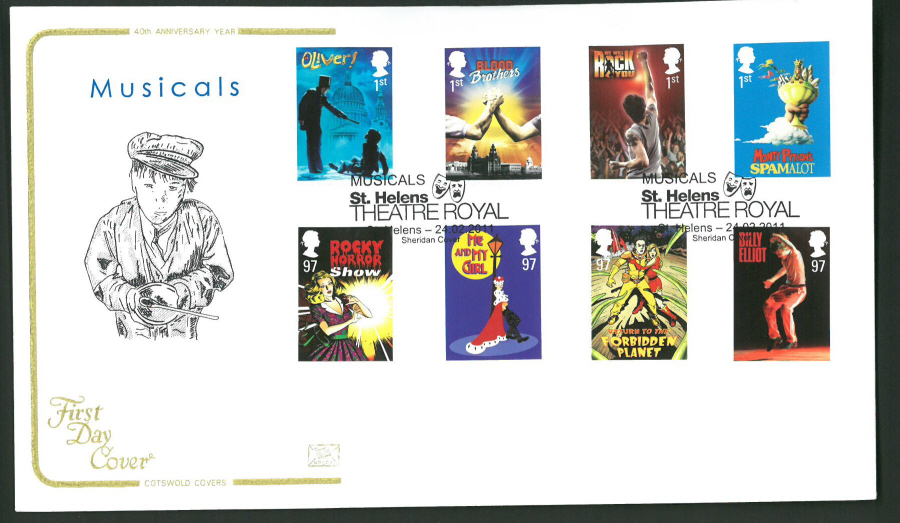 2011 Musicals Cotswold First Day Cover -Theatre Royal St Helens Postmark
